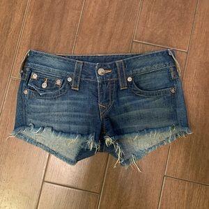 True religion Joey cut off dark wash shorts 27